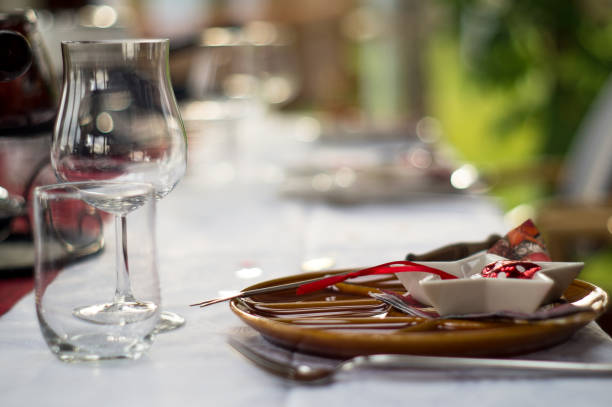 Plate and cutlery with christmas decoration stock photo