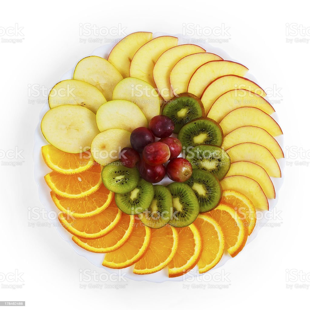 plate apple food kiwi grapes sliced isolated on white background royalty-free stock photo