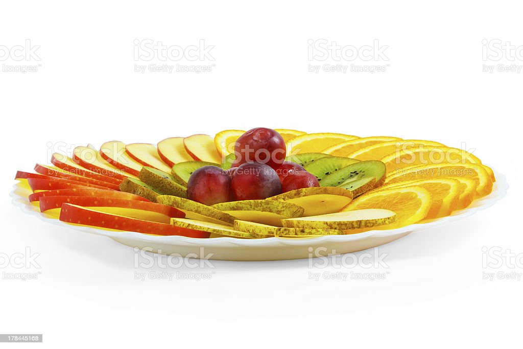 plate apple kiwi grapes food sliced isolated on white background royalty-free stock photo