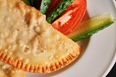 plate cheburek vegitables dinner national delicious meal top view