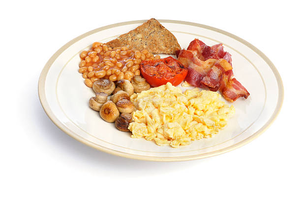 Plate Containing An English Breakfast stock photo