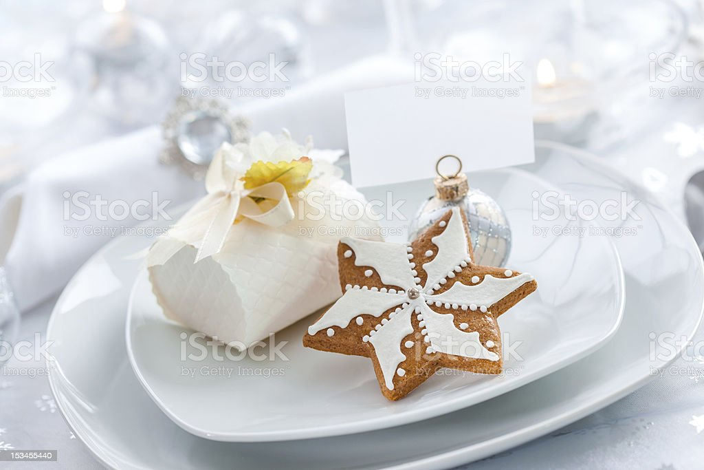 Plate for Christmas evening stock photo