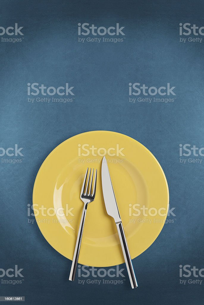 Plate, fork and Table knife stock photo