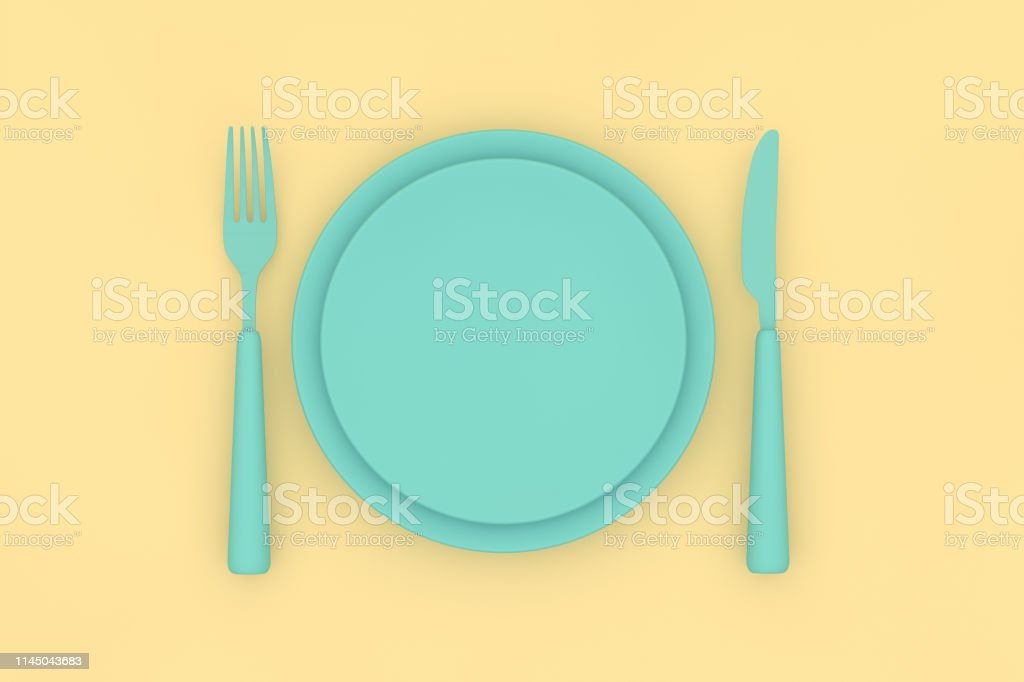 Minimal, Healthy eating concept with crockery on flat background