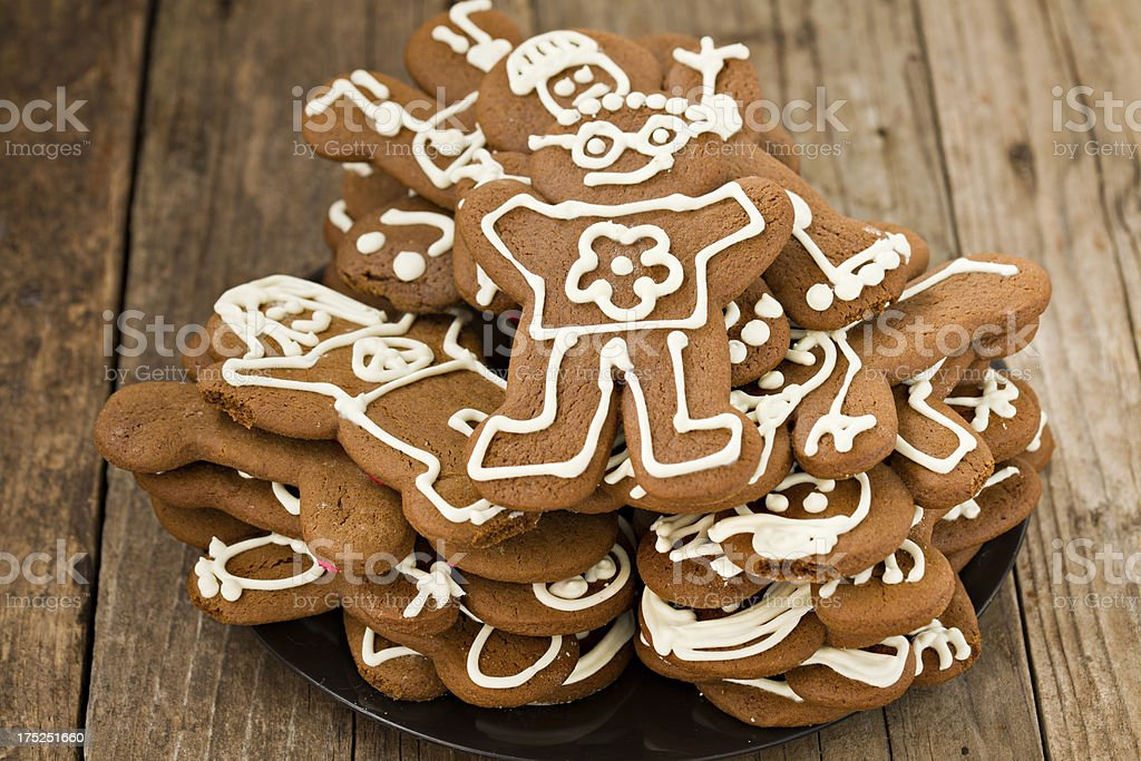 Plate Full Of Gingerbread Men royalty-free stock photo