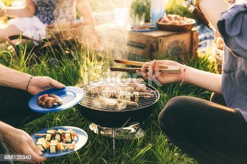 696841580istockphoto Plate full of grilled food,  barbecue with friends 688135340