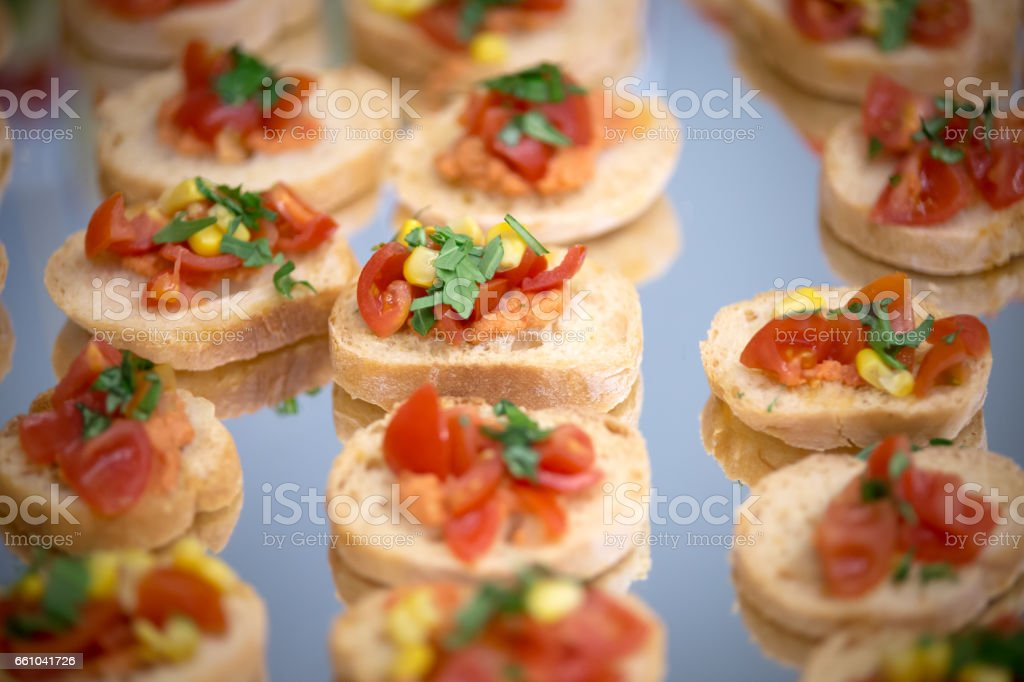 A plate full of little snack stock photo
