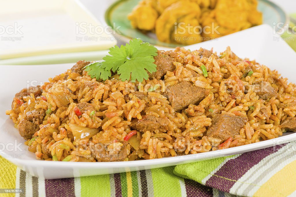 A plate full of mutton biryani stock photo