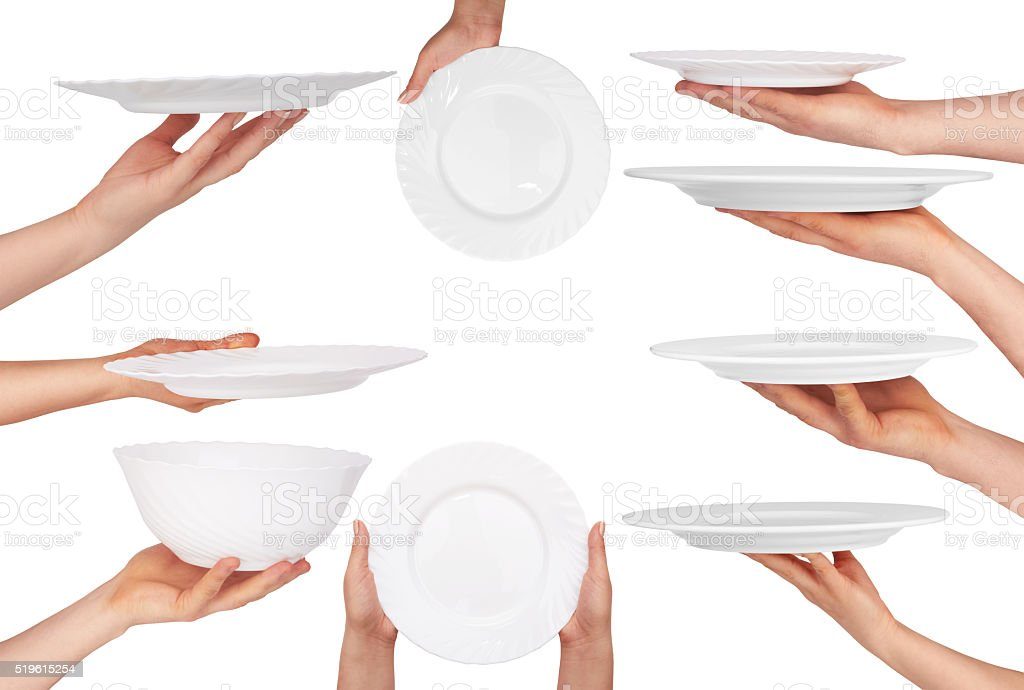 plate in hand stock photo