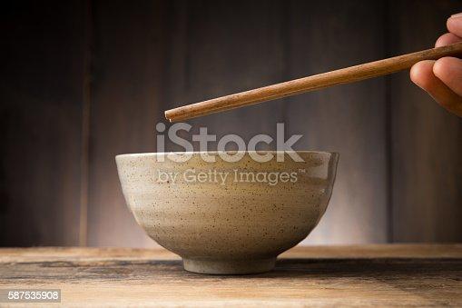 Plate Japanese style on wood background