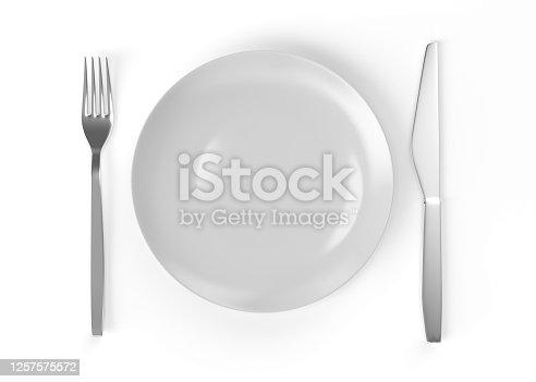 plate, knife, fork, 3d rendering, top