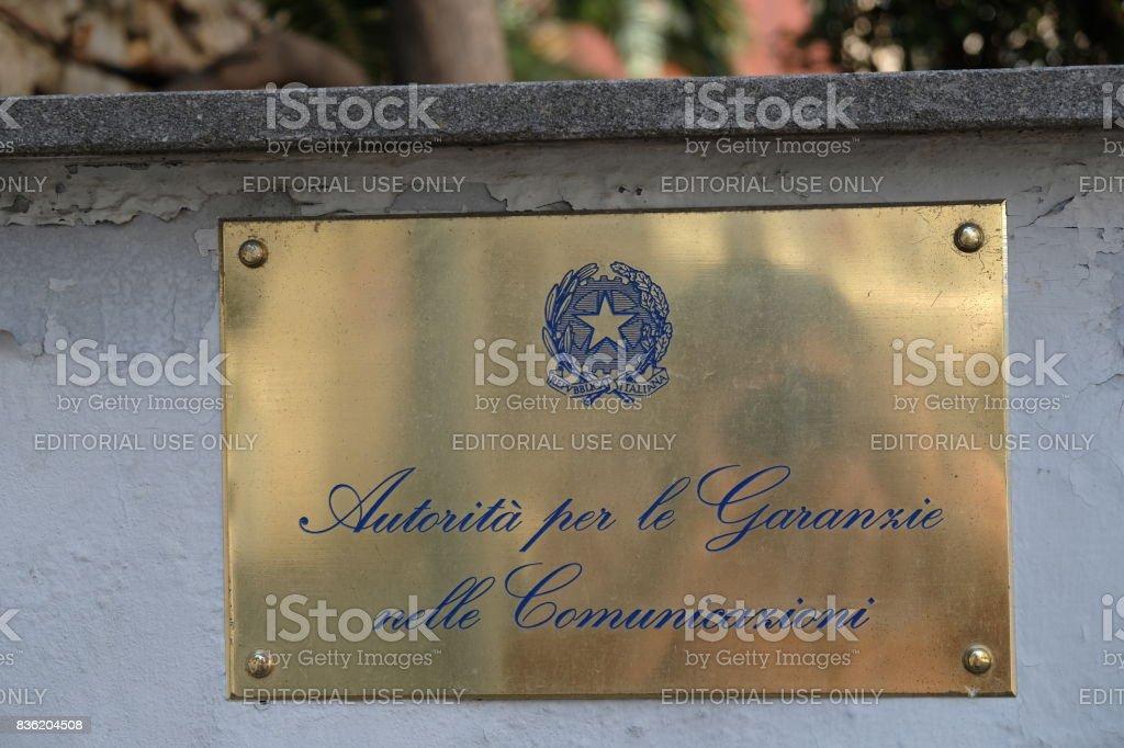Plate of Autorità per le Garanzie nelle Comunicazioni, Rome, Italy stock photo