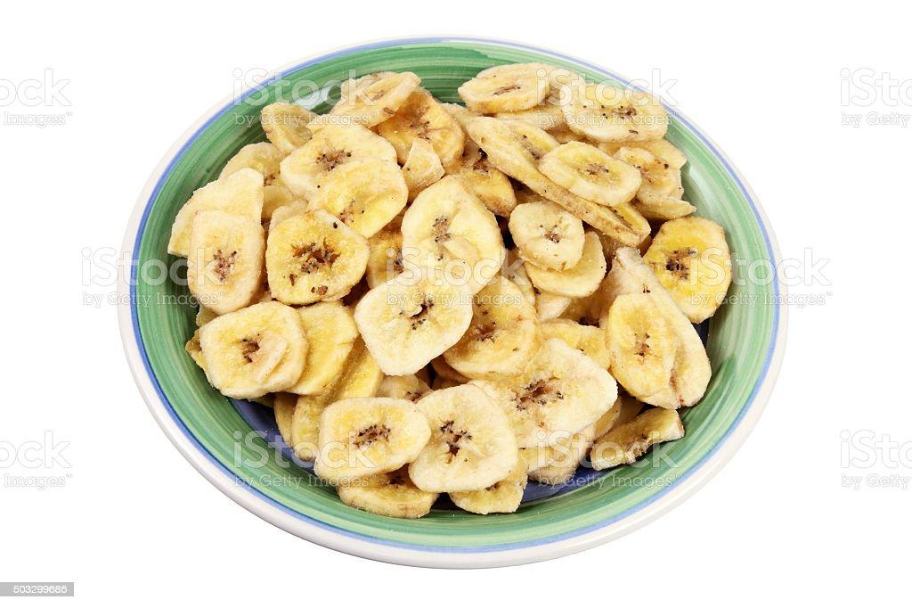 Plate of Banana Chips stock photo