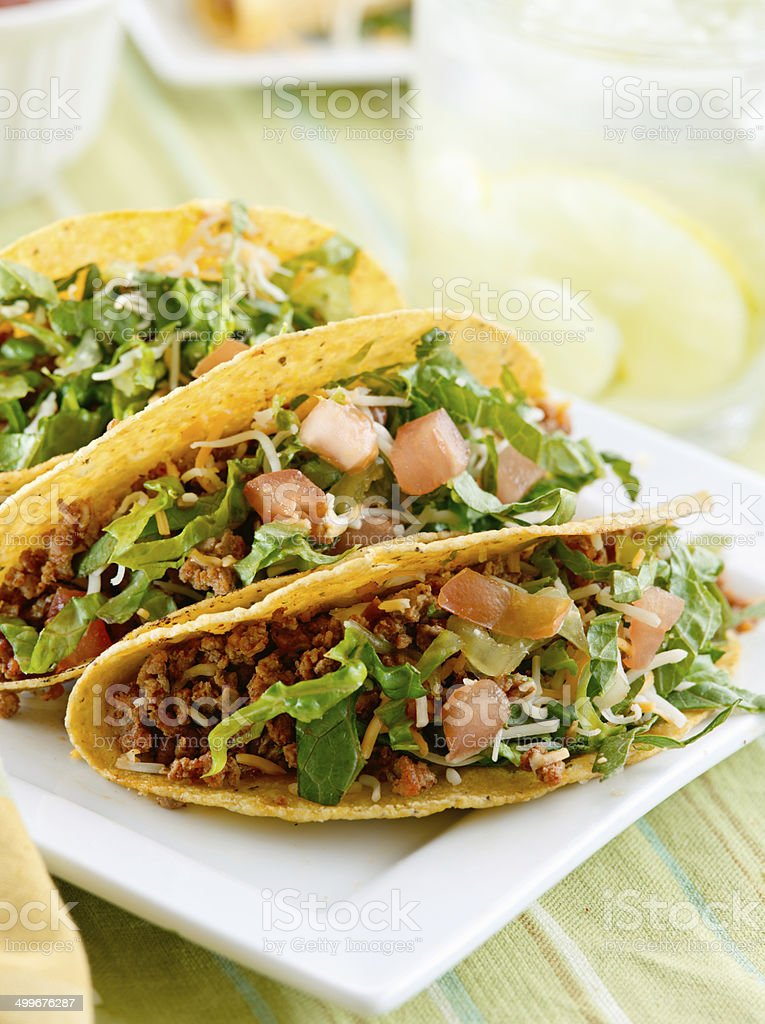 plate of beef tacos stock photo