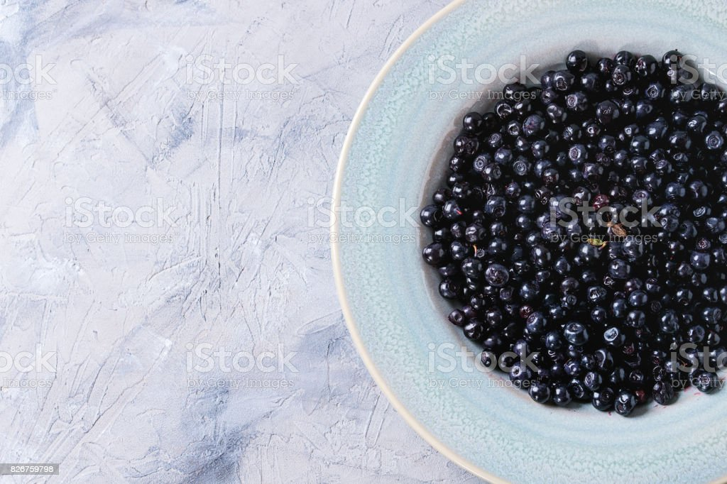 Plate of blueberries stock photo