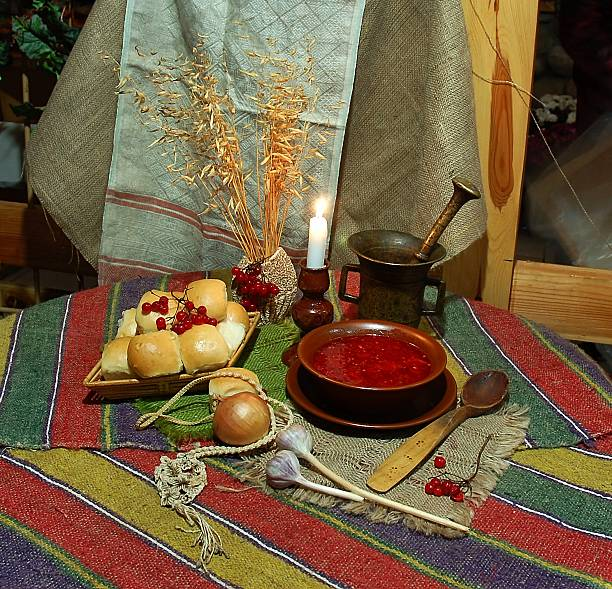 Plate of borscht with donuts stock photo