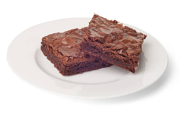 Plate of Brownies, Isolated on White with Clipping Path stock photo