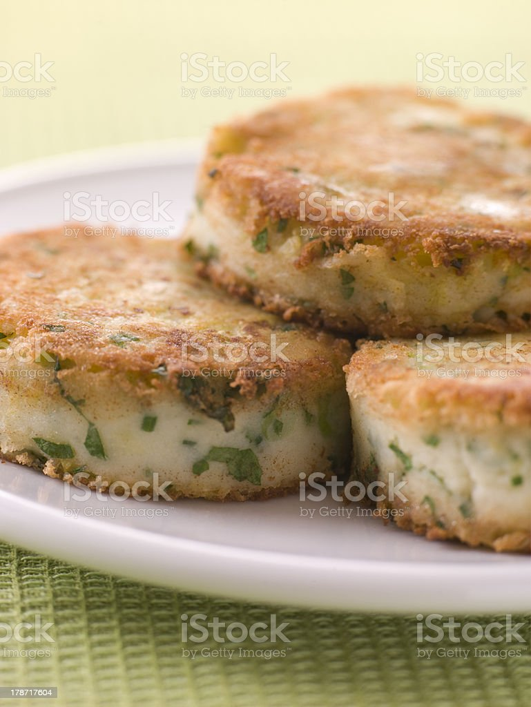 Plate of Bubble and Squeak cakes stock photo