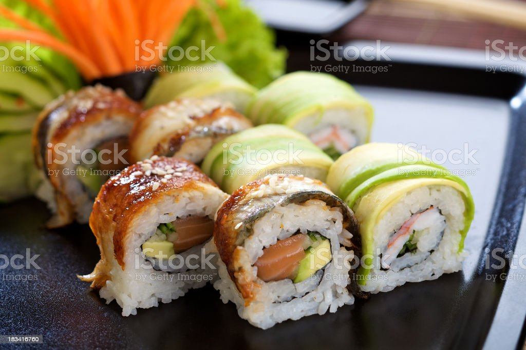 A plate of California sushi rolls stock photo