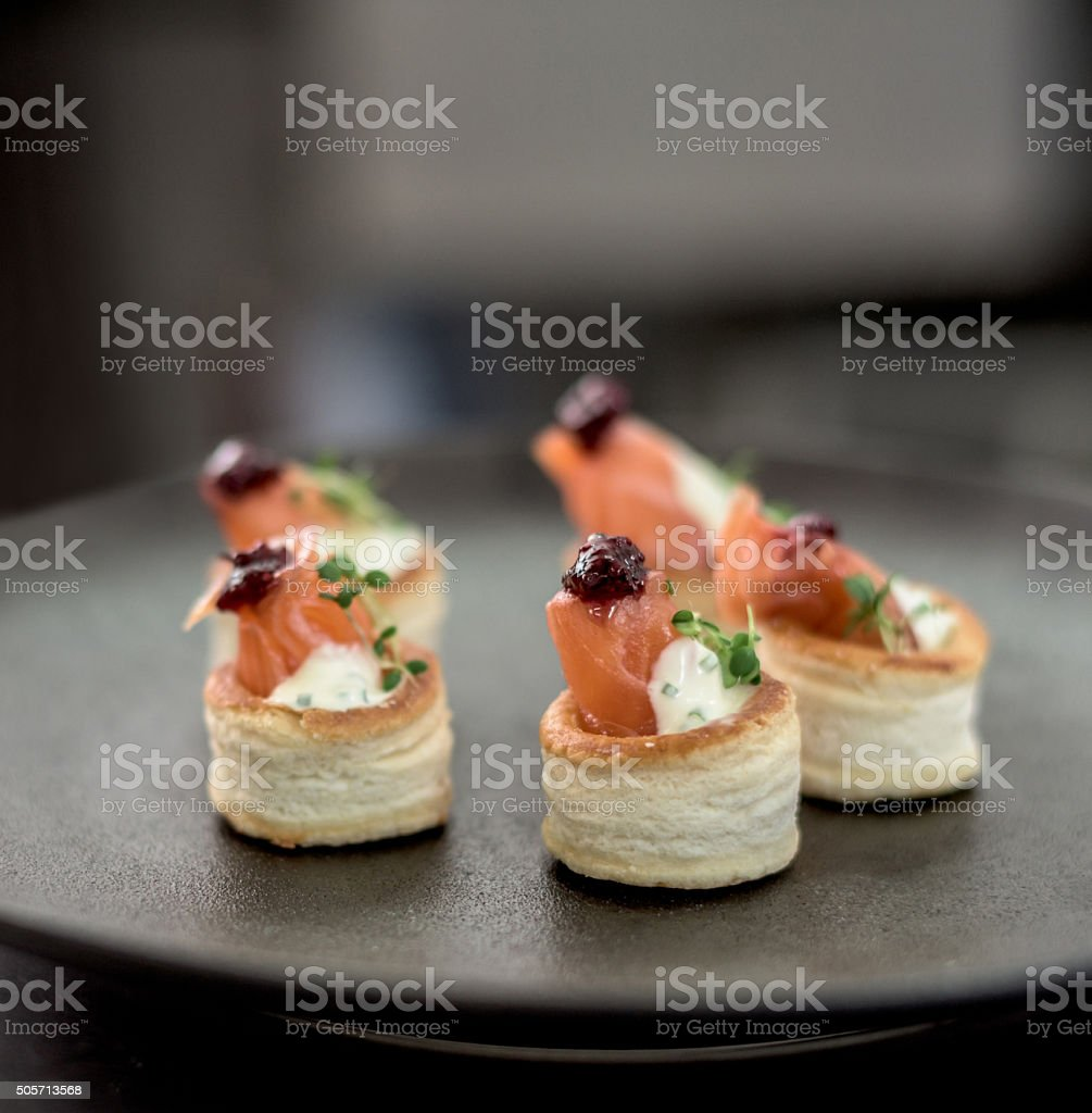 Plate of canapes served at a restaurant stock photo