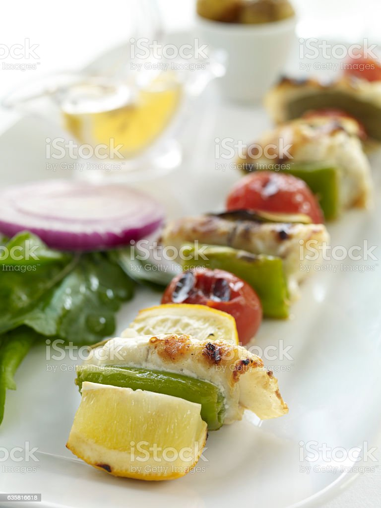 Plate of Chicken Kebabs stock photo