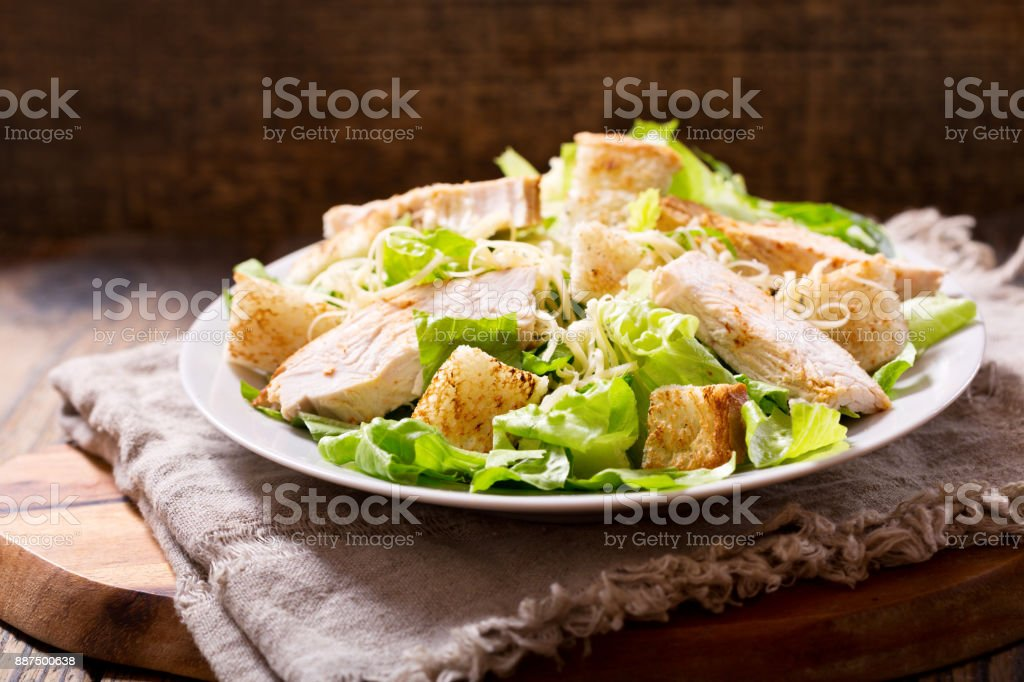 plate of chicken salad stock photo