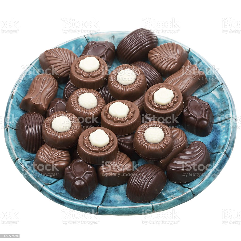 Plate of chocolates royalty-free stock photo