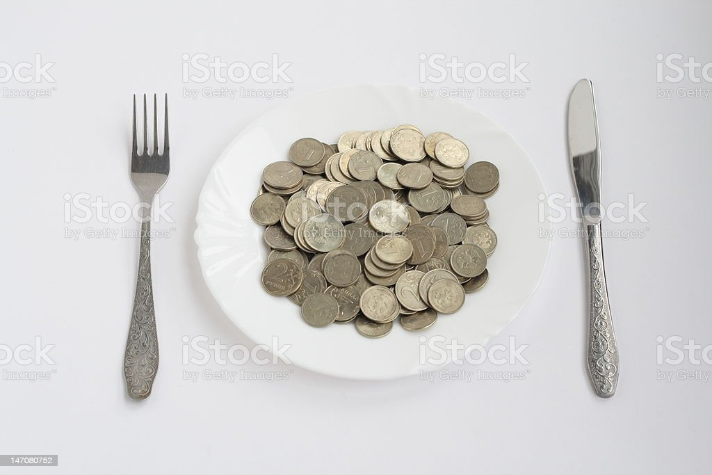 plate of coins royalty-free stock photo