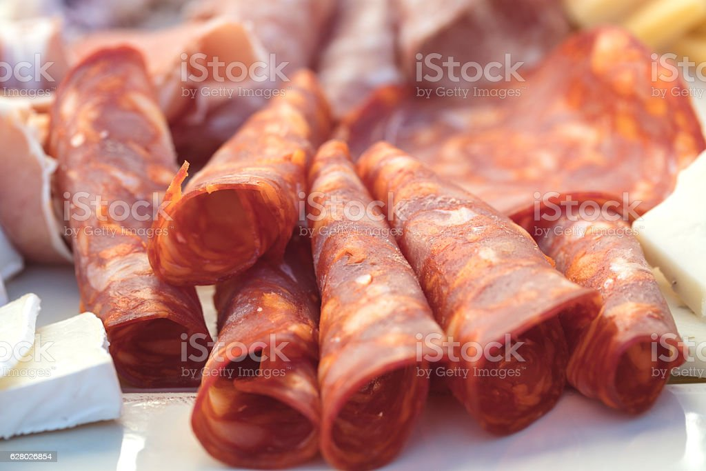 Plate of Cold Cuts for a Party Get Together stock photo