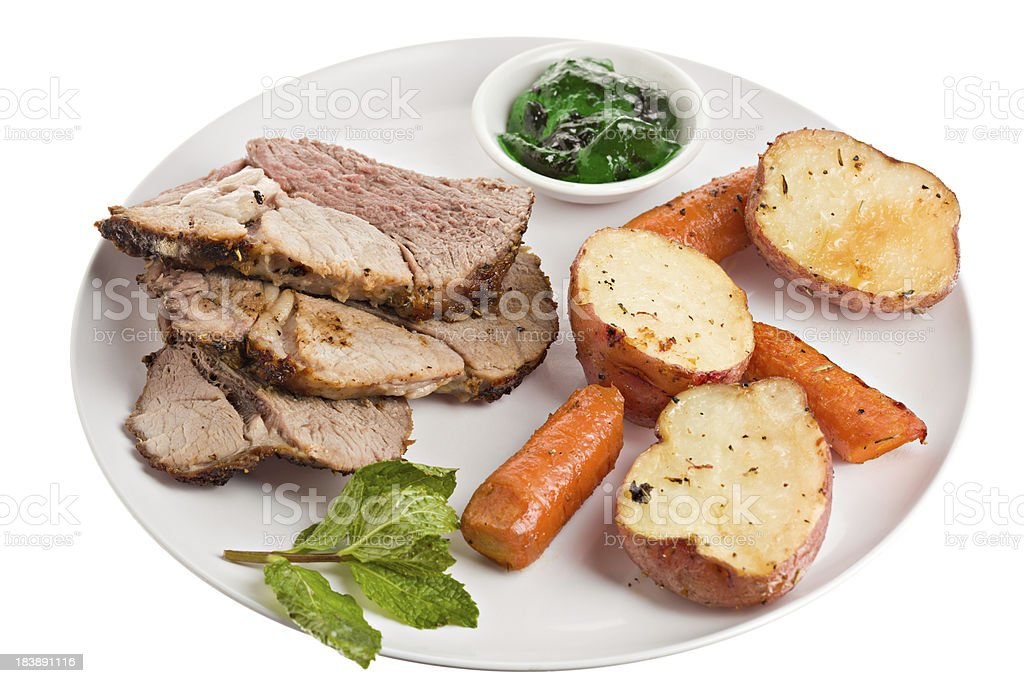 Plate Of Cooked Lamb royalty-free stock photo
