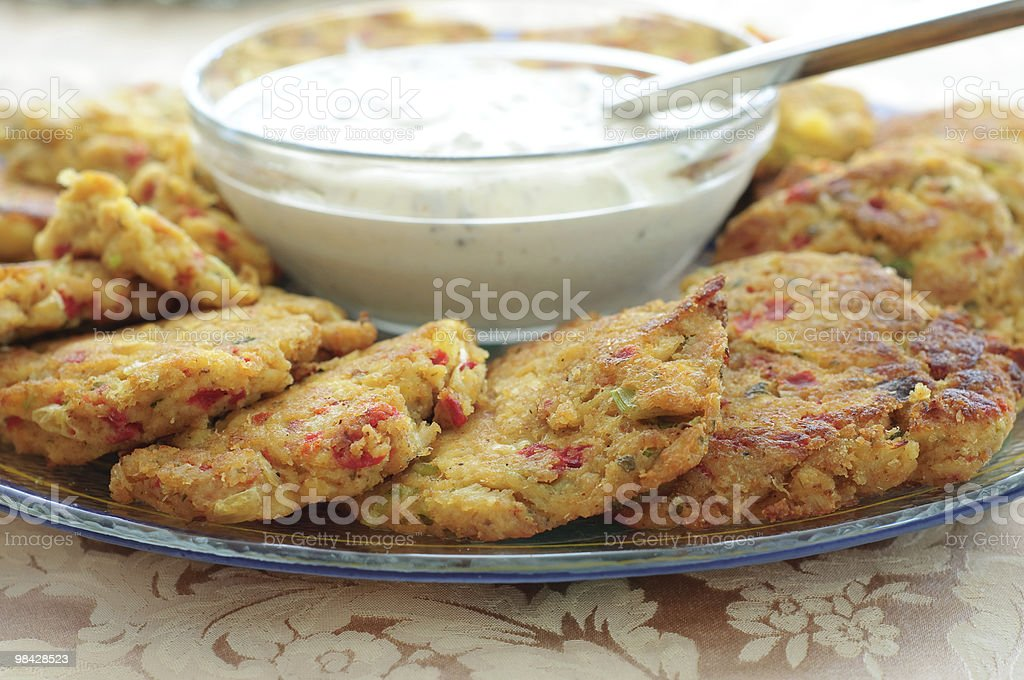 Plate of Crabcakes stock photo