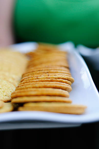 Plate of Crackers stock photo