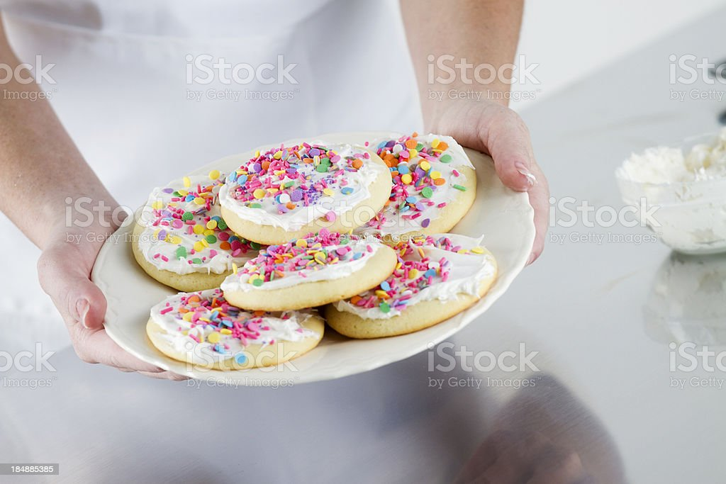 Plate of Decorated Sugar Cookies stock photo
