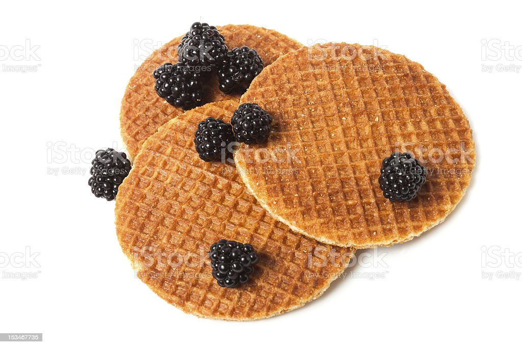 Plate of delicious waffles and blackberries royalty-free stock photo