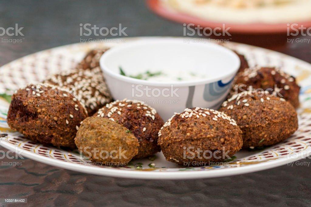 A Plate Of Falafel In Old Dubai United Arab Emirates Stock