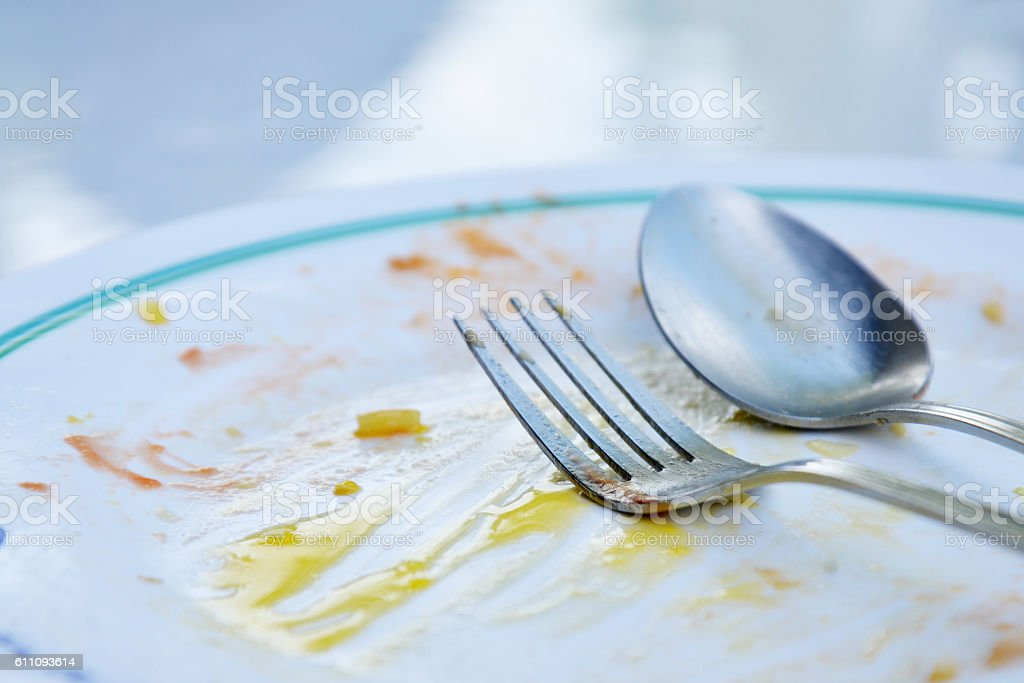 plate of food after eating stock photo