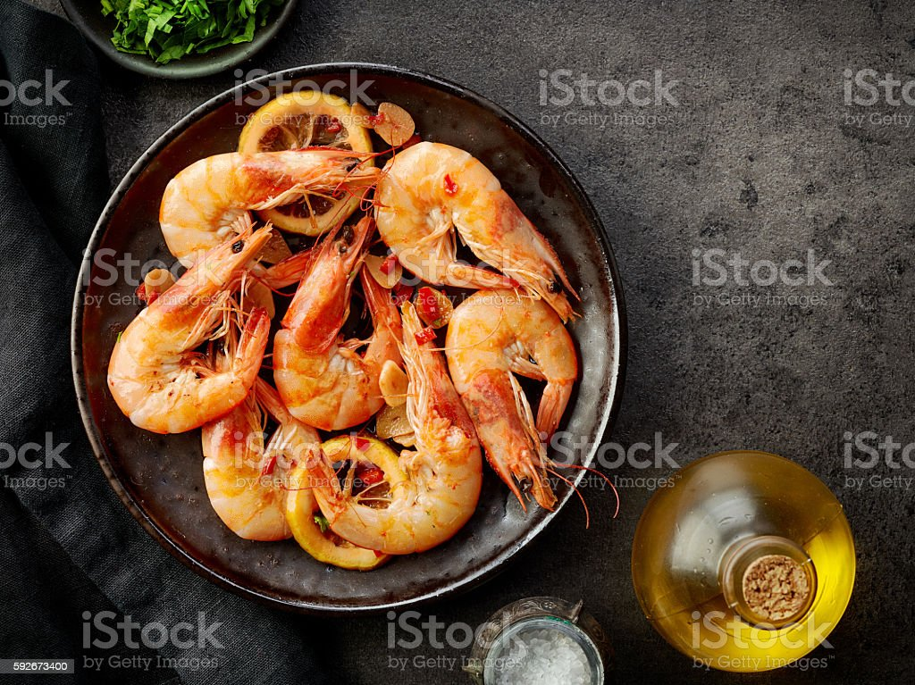 plate of fried prawns stock photo