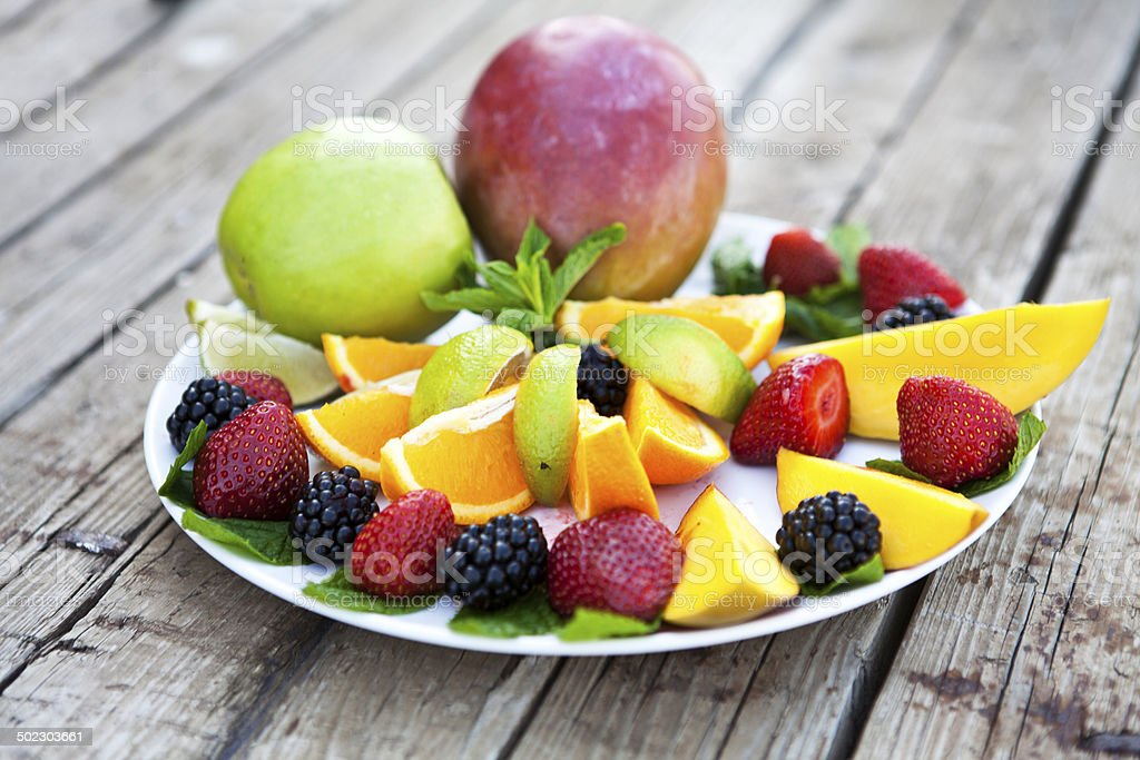 Plate of Fruits stock photo