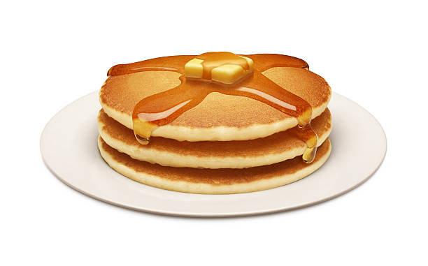 ゴールドプレートのパンケーキ、シロップ 15 ml - パンケーキ ストックフォトと画像