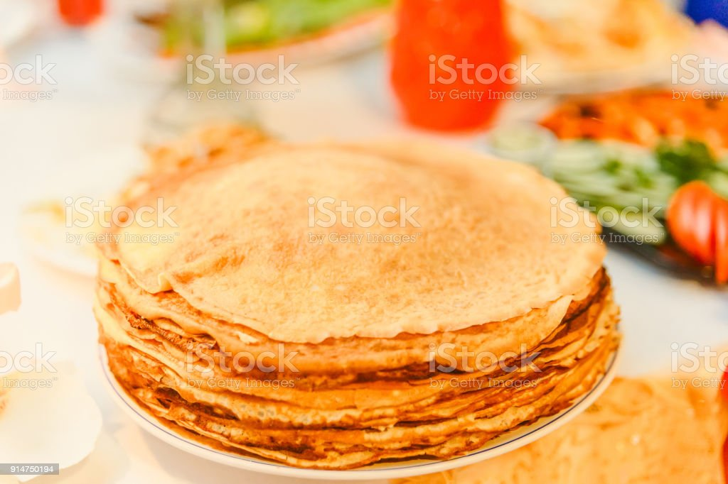 Plate Of Golden Pancakes The Traditional Russian Holiday Of
