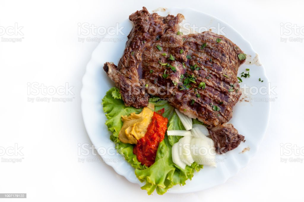 Plate of grilled ribs stock photo
