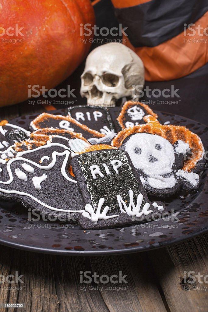 Plate of Halloween Sugar Cookies royalty-free stock photo