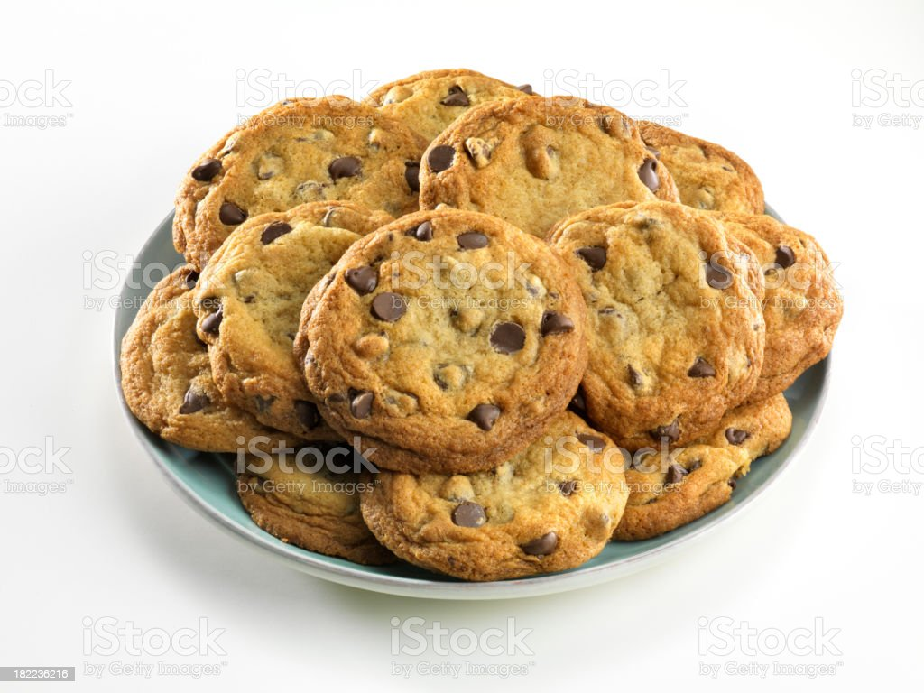 Plate of homemade chocolate chip cookies, white background royalty-free stock photo