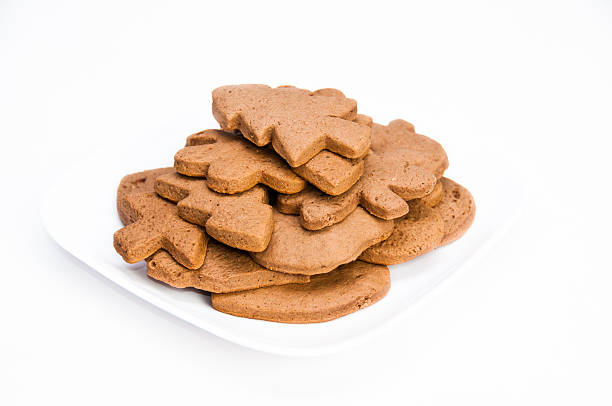 Plate of homemade gingerbread cookies on isolating background