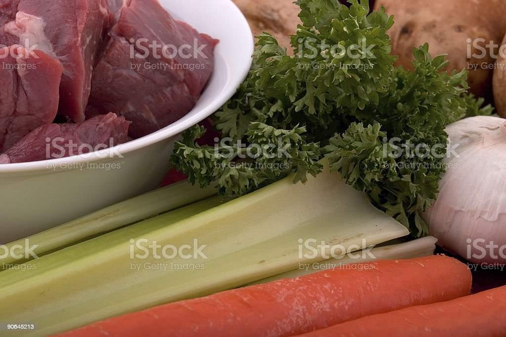 plate of ingedients for a beef stew royalty-free stock photo