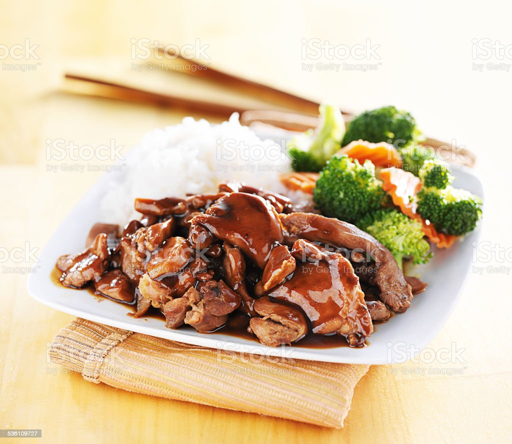 plate of japanese chicken teriyaki stock photo