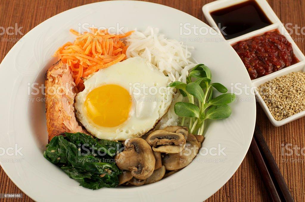 Plate of Korean Bibimbap royalty-free stock photo