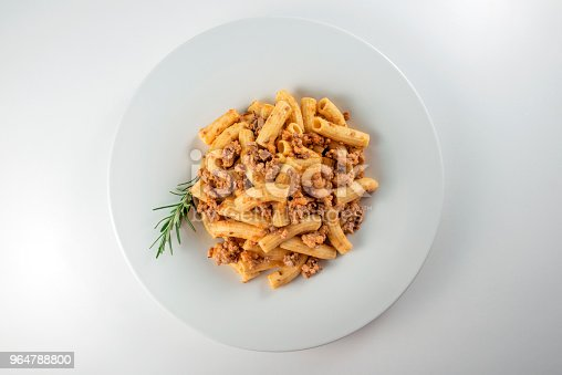 Plate Of Macaroni Pasta With Bolognese Ragù Stock Photo & More Pictures of Beef