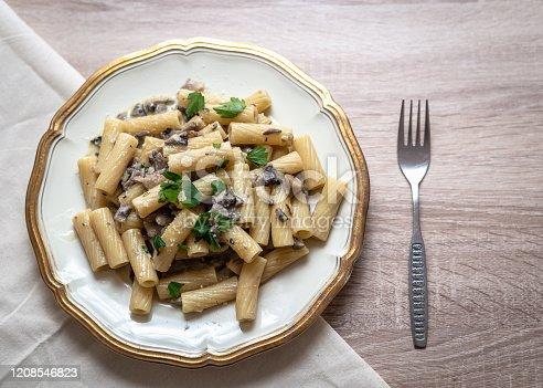istock Plate of mushroom pasta 1208546823