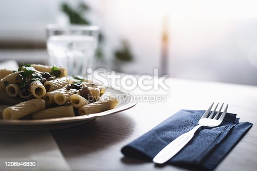 istock Plate of mushroom pasta 1208546830